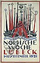 Original German Sailboat Poster Plakat 1921 Lübeck, Alfred Mahlau, Click for value