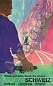 Original 1950s Swiss Rail Travel Poster Plakat, Fritz Buhler, Click for value