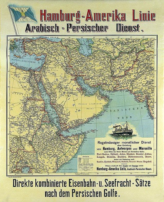Old Original 1905 HAPAG Ship Travel Poster Plakat