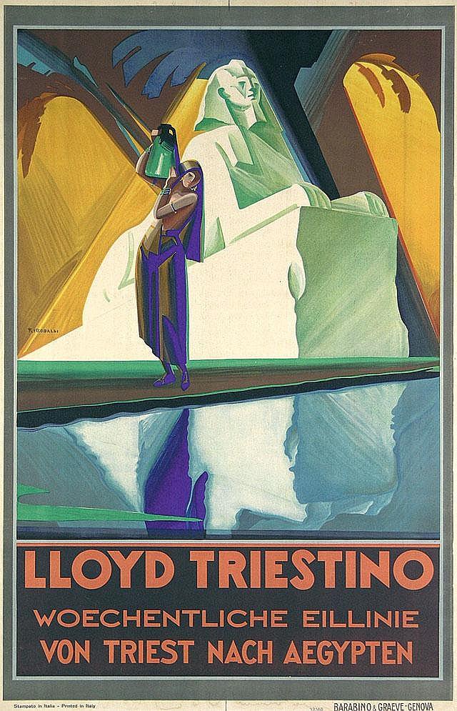 Original 1930s RICCOBALDI Travel Poster Lloyd Triestino