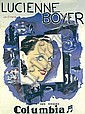 Original 1950 Lucienne Boyer Columbia Music Poster, André (1901) Girard, Click for value