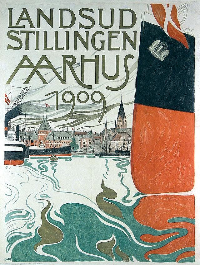 Original 1909 Aarhus Denmark Travel Poster Plakat