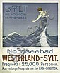 Rare Original 1910 Westerland Sylt Reise Plakat Travel Poster, Franz Korwan, Click for value