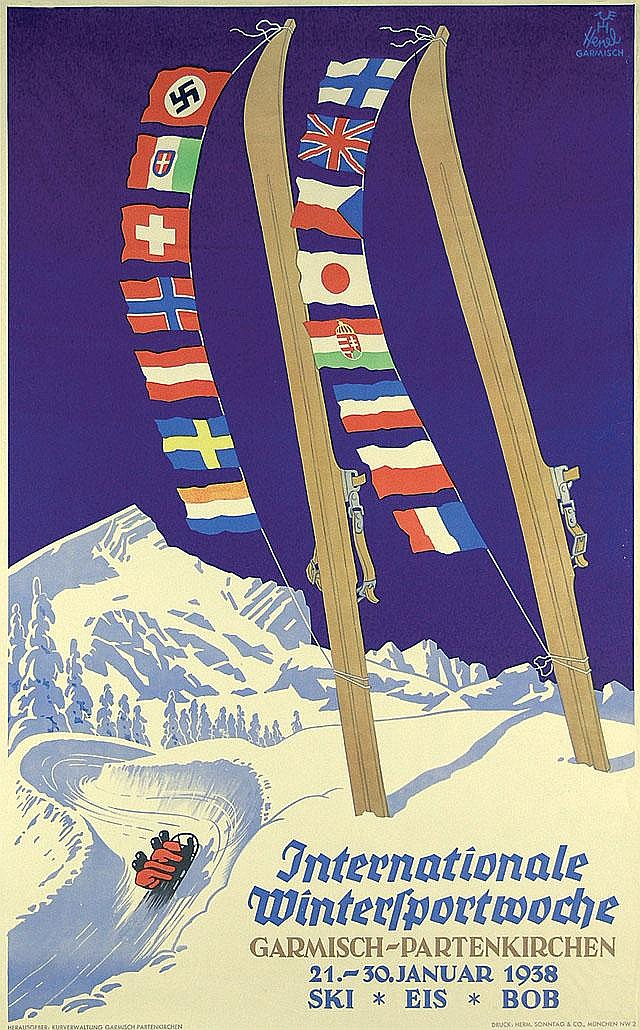 Original 1930s German Winter Sports Ski Travel Poster Plakat