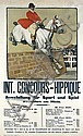 Original 1906 Concours Hippique Equestrian Poster Plakat, Angelo Jank, Click for value