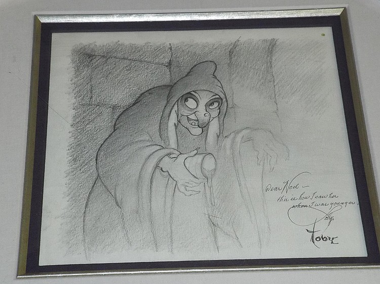 Original Snow White Witch Drawing, Toby Bluth