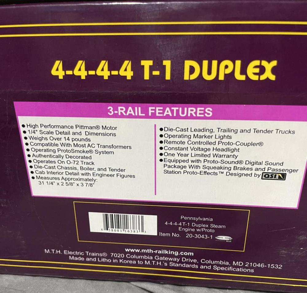 MTH 20-3043-1 PRR T1 Duplex Articulated