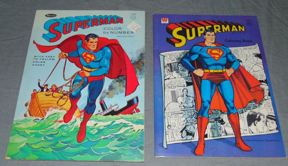 2) 1966 Superman Coloring Books, Whitman