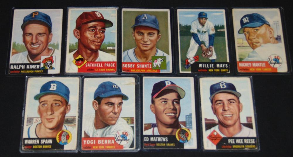 1953 Topps Baseball Card Lot Stars