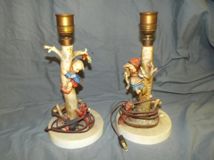 Hummel   Apple Tree Boy And Girl Lamps.