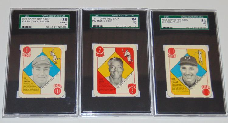 1951 Topps Red Back Lot of Three Graded.