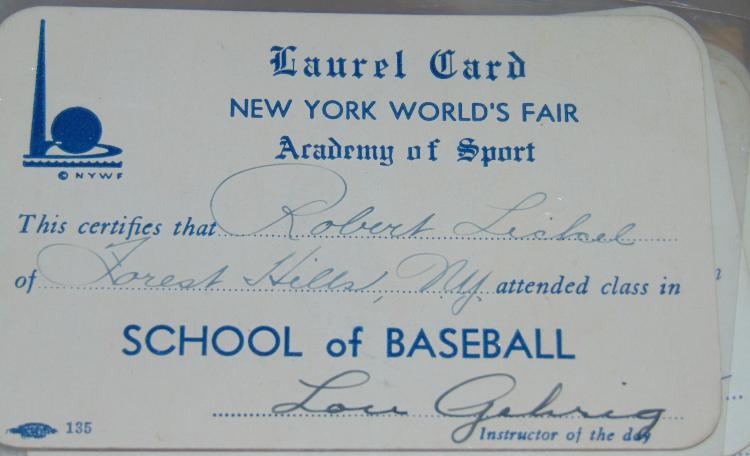 1939 NY World's Fair Baseball Academy Autographs