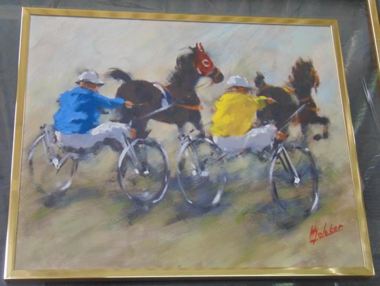 Harness Racing Oil on Canvas, Artist Signed