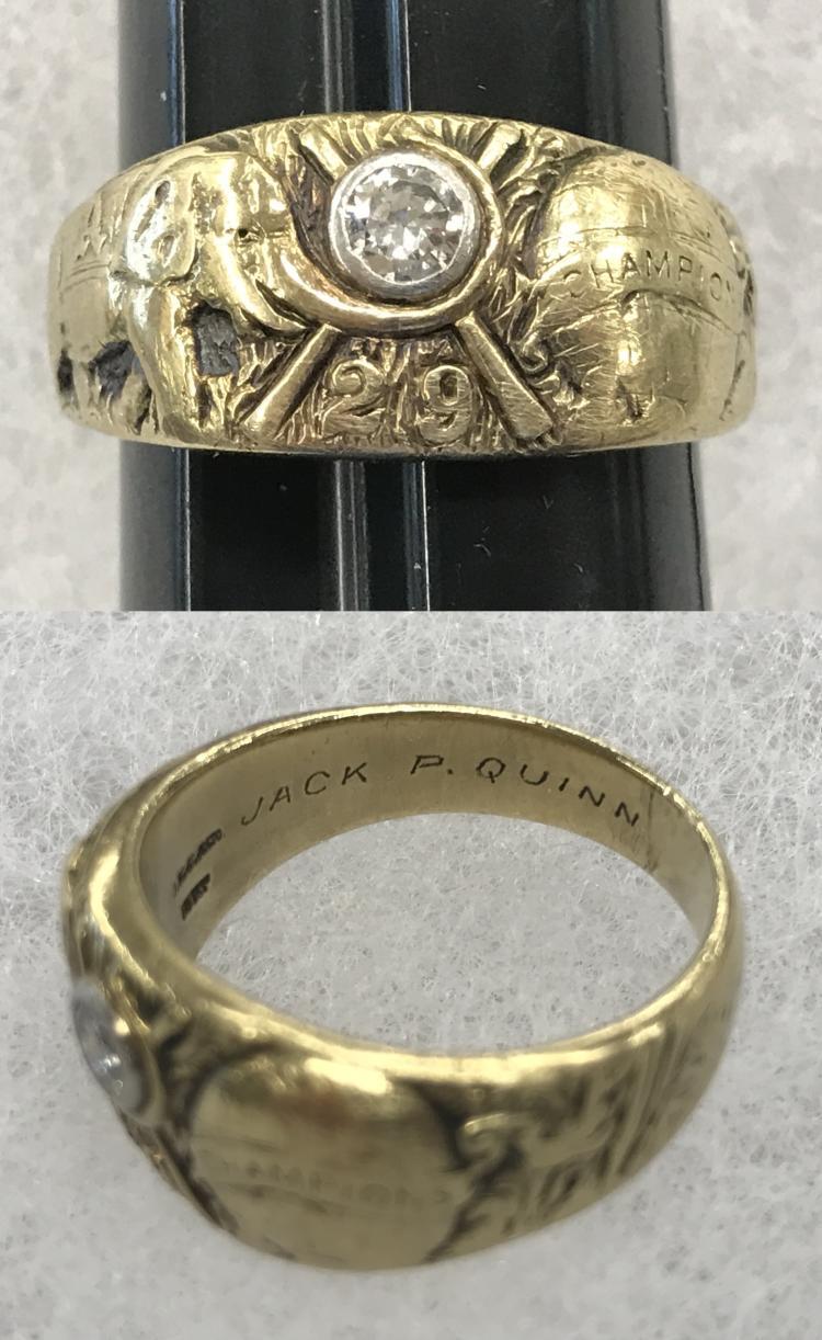 Jack Quinn 1929 World Series Ring.