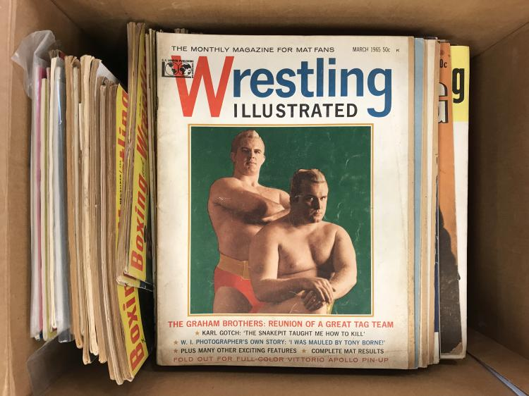 Vintage Boxed and Wrestling Magazine Lot