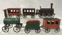 French Hand-Painted Tin Floor Train Set