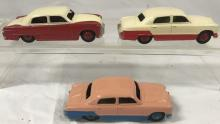 3 Dinky Two-Tone 170 Ford Fourdoors