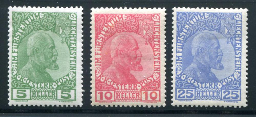 Liechtenstein #'s 1a-3a Mint.