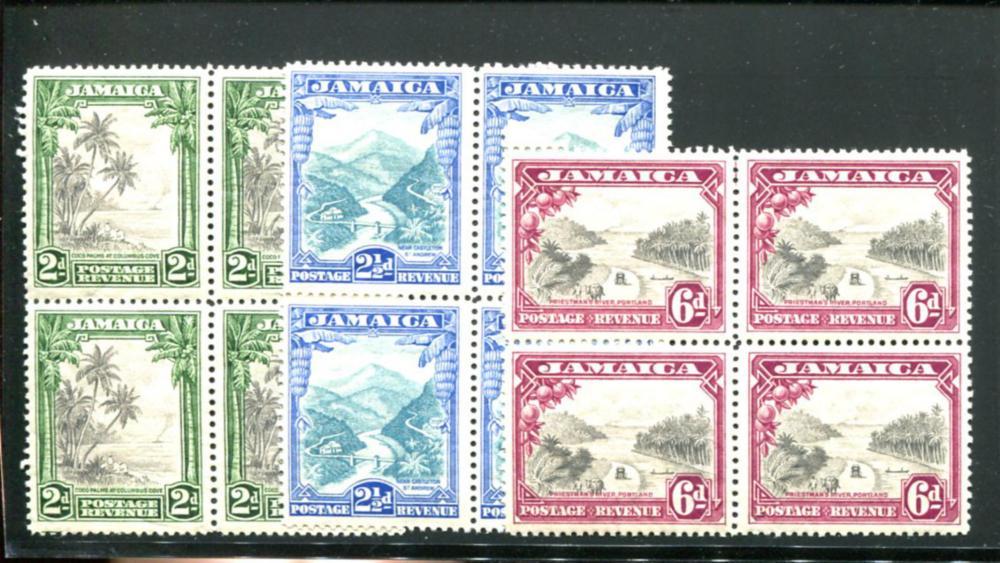 Jamaica #106-108 Mint Blocks.