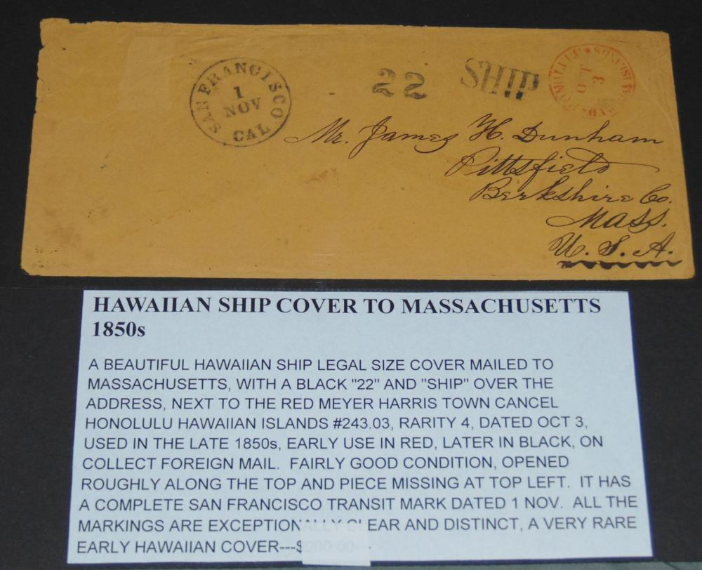 Hawaii 1850's Stampless Ship Cover.