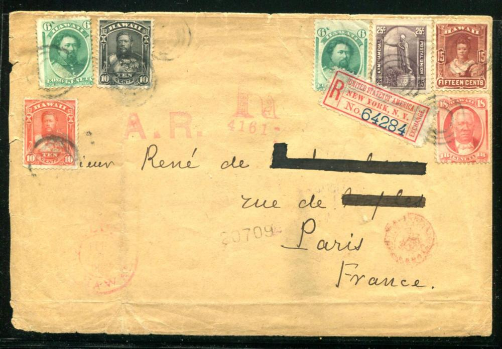 Hawaii Registered Cover to Paris France.