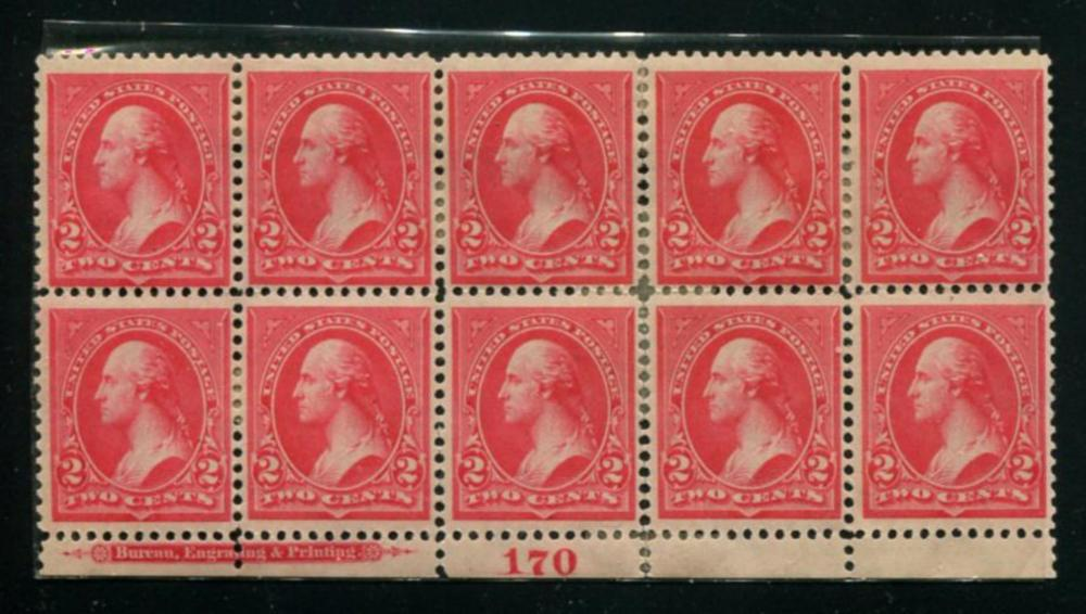 United States #252 Plate Block of Ten.