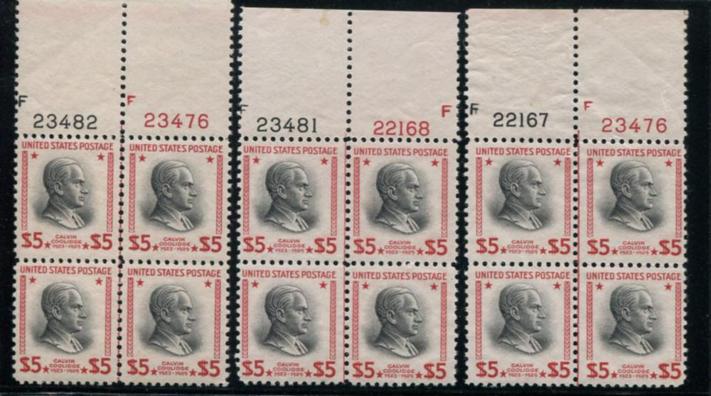 United States #834 Plate Blocks of Four.
