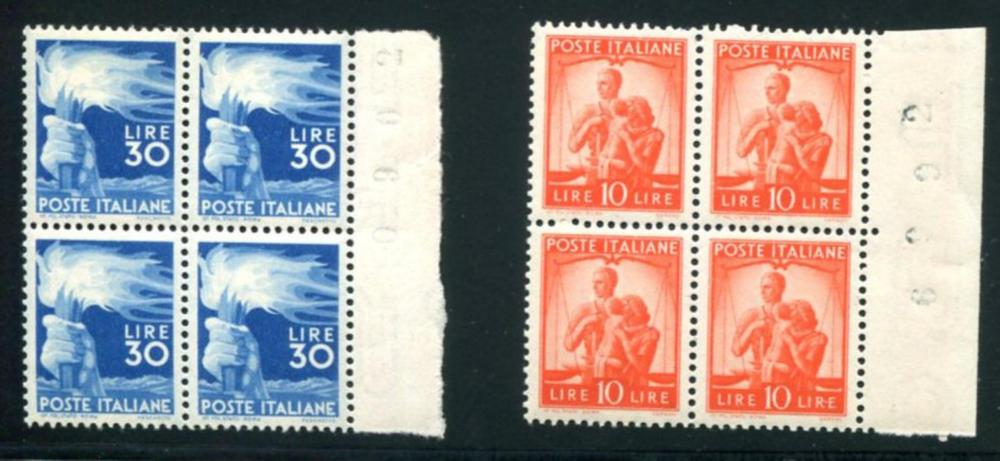 Italy. 487-488 Mint NH Blocks of Four.