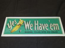Vintage Circa 1940's-50's Ice Cream Store Sign.