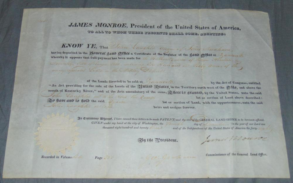 certificate grant land jsa monroe james lot