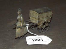 Early French Flywheel Woman Pulling Cart Toy