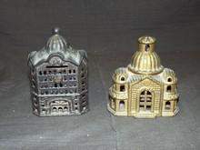 (2) Cast Iron Still Building Banks
