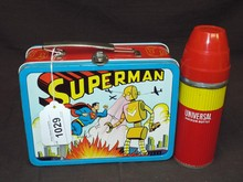 1954 Superman vs Robot Metal Lunchbox w/Thermos