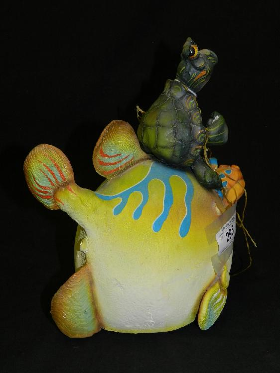Todd warner signed sculpture fish with turtle for Todd s tropical fish