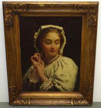 Unsigned Oil on Board Portrait.