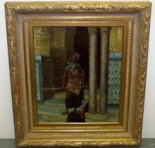 J. Franceso. Oil on Canvas. Arabic Man Armed.