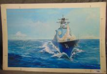 Original Military Warship Illustration, Unsigned