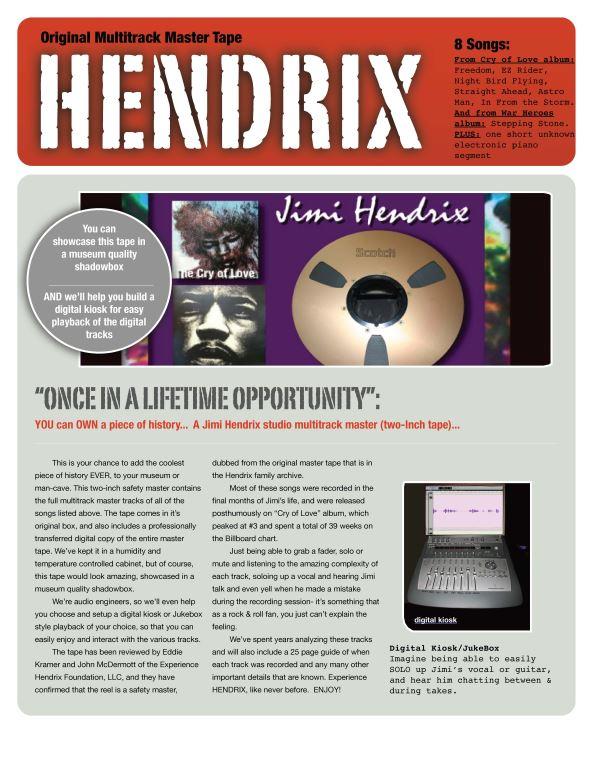 1970 Jimi Hendrix Studio Multitrack 2-Inch Tape