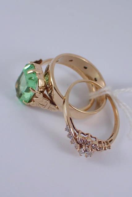 Three 9ct gold dress rings