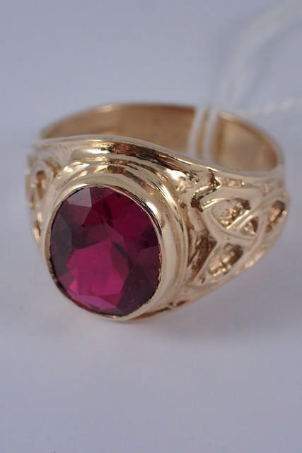 A 9ct gold gent's college ring