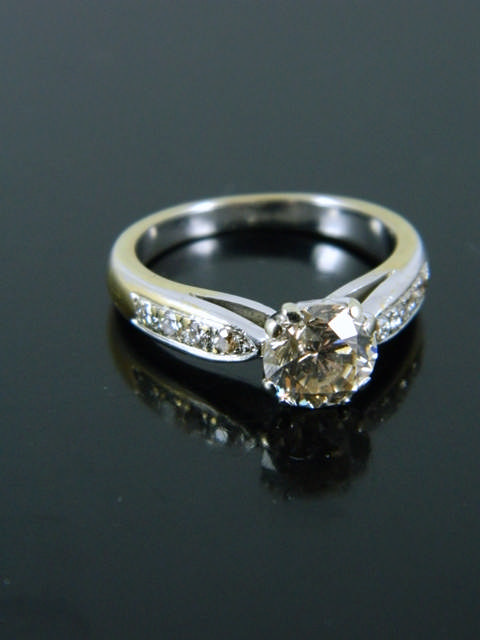 A diamond single stone ring set in 18ct gold