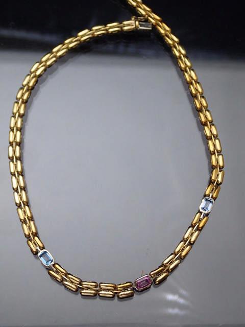 A 9ct gold gem set necklace approx. 19.6 grams