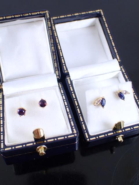 Two pairs of gem set stud earrings