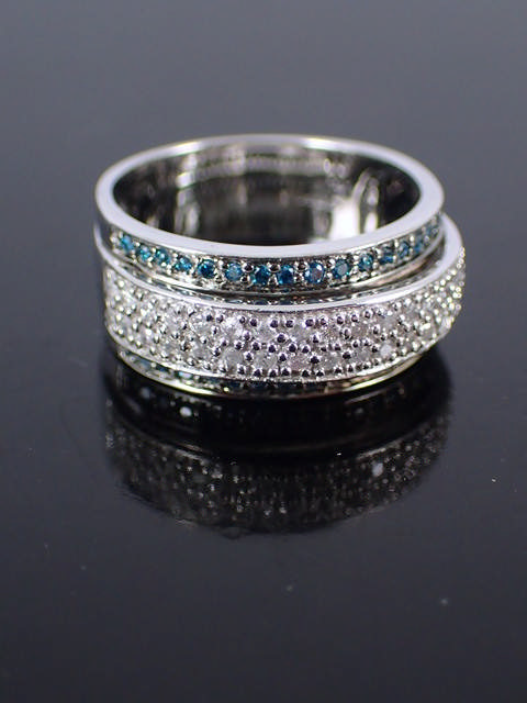 A 9ct gold diamond & gem set ring