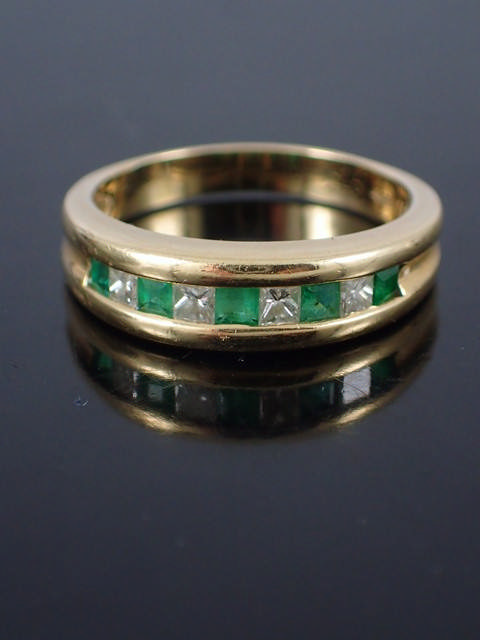 A 14ct gold diamond & gem set ring approx. 4.3 grams
