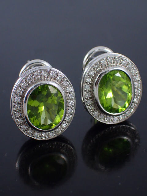 A pair diamond & gem set earring approx. 11.9 grams