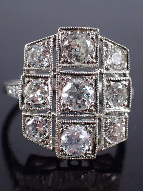 A diamond cluster ring estimated weight 2cts set in platinum