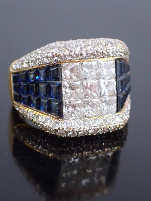 A diamond & sapphire cluster ring
