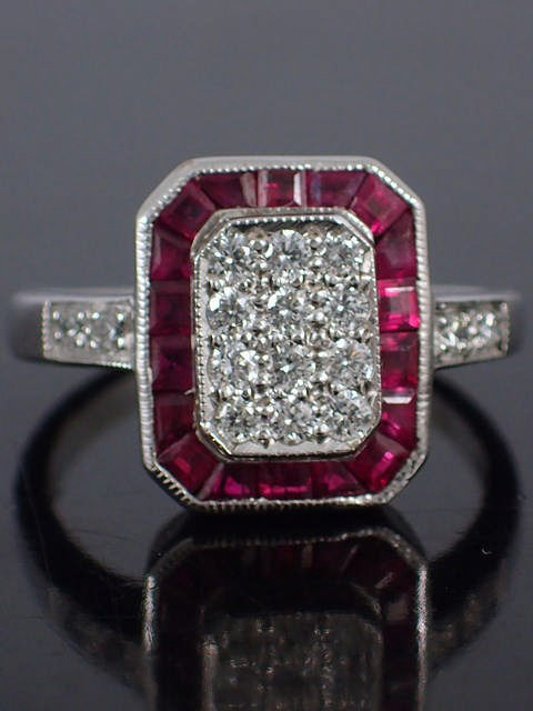 A diamond & ruby cluster ring