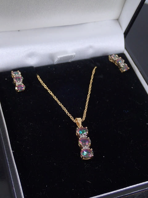 A pair of 9ct gold 'mystic topaz' & diamond earrings & matching pendant & chain with cert of authent